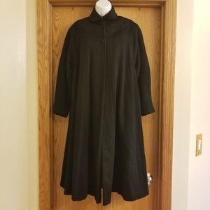Vintage 50s Grosfeld Black Wool Swing Coat Large